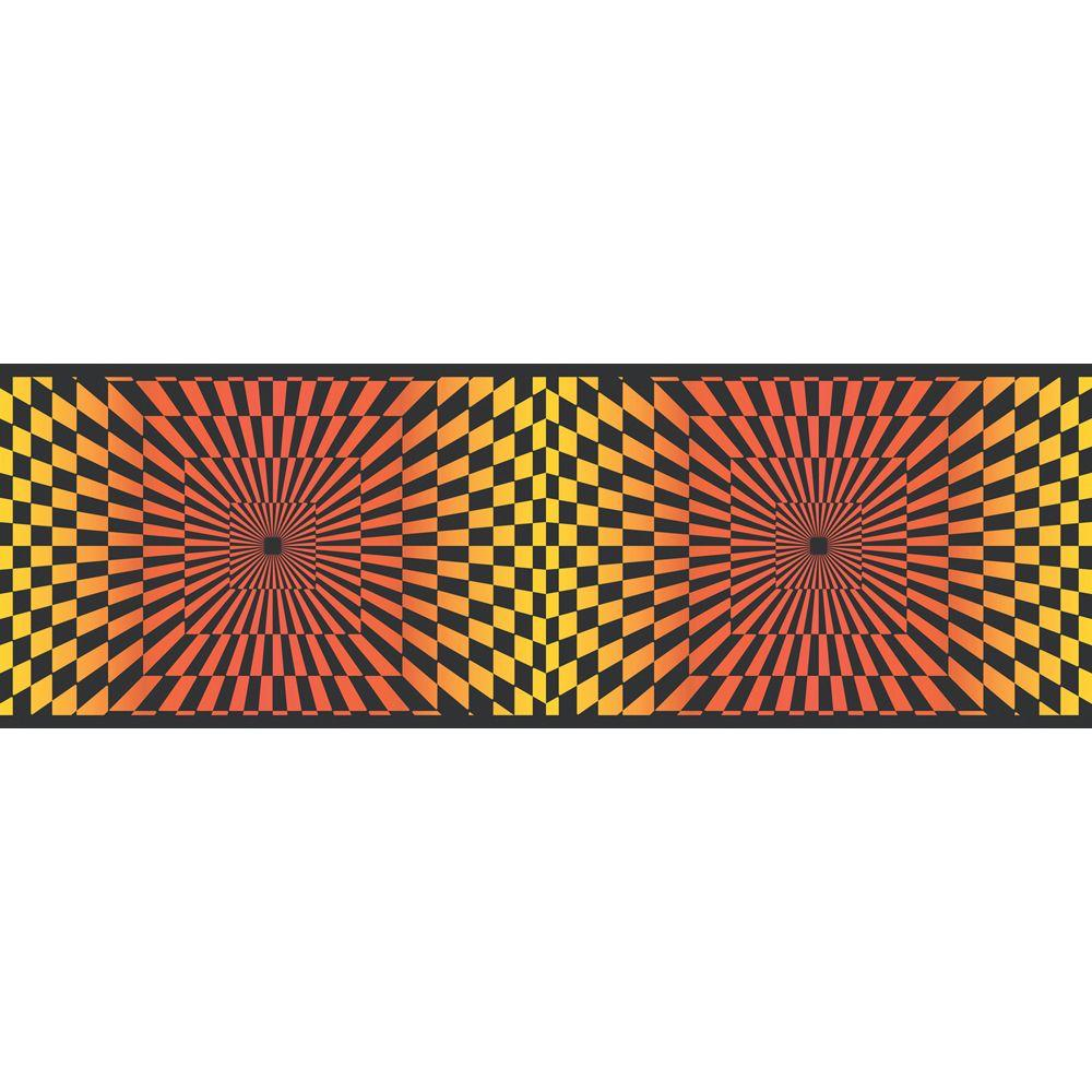 null 6.83 in. x 15 ft. Red And Yellow Funky Optics Border