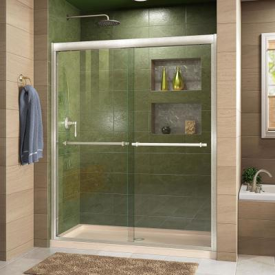 Duet 36 in. x 48 in. x 74.75 in. H Semi-Frameless Sliding Shower Door in Brushed Nickel with Center Drain Base