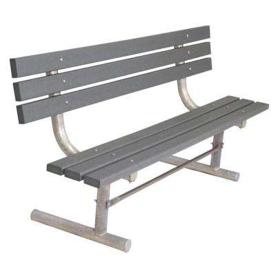 6 ft. Gray Commercial Park Recycled Plastic Bench with Back Surface Mount
