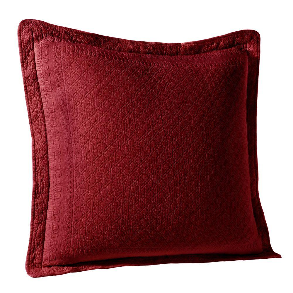 Historic Charleston Collection King Charles Scarlett Matelasse Cotton Euro Pillow Sham