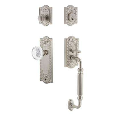 Meadows Plate 2-3/4 in. Backset Satin Nickel F Grip Handleset Crystal Meadows Door Knob