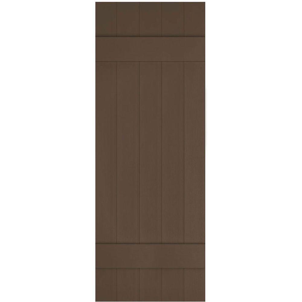 Ekena Millwork 17 1 2 In X 39 In Lifetime Vinyl Custom Five Board Joined Board And Batten Shutters Pair Federal Brown Lj5c17x03900fb The Home Depot