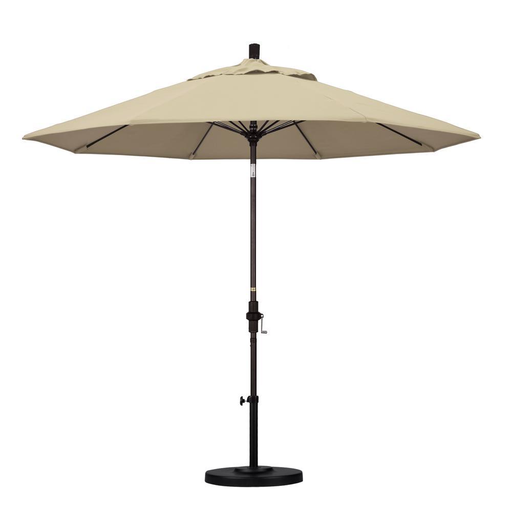 9 ft. Bronze Aluminum Market Patio Umbrella with Fiberglass Ribs Collar Tilt Crank Lift  in Antique Beige Sunbrella
