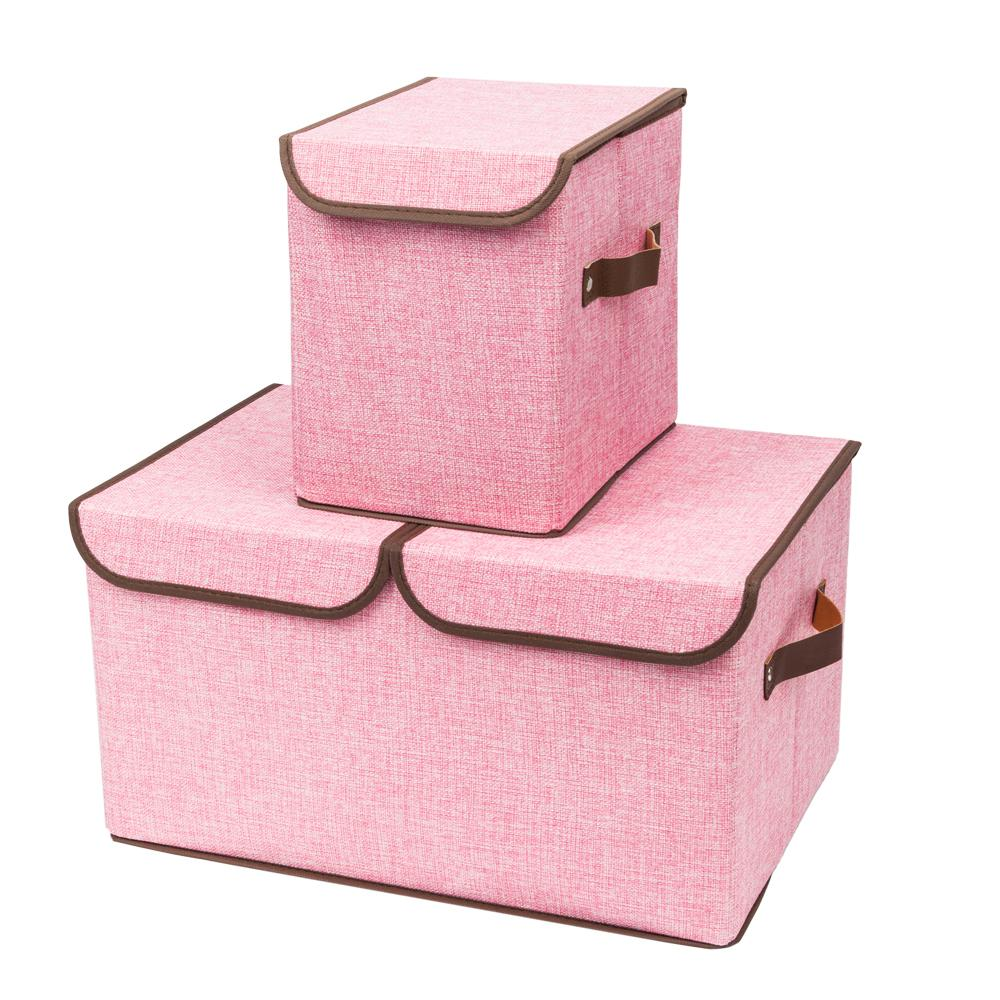 Pink Fabric Storage Boxes Double Cover Box And Single Cover Box With Pink  (2