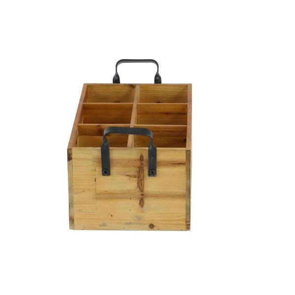 17 in. W x 6 in. H Wood Crate 6-Bottle Exposed Cherrywood Brown Wine Holder with Black Iron Arched Handles