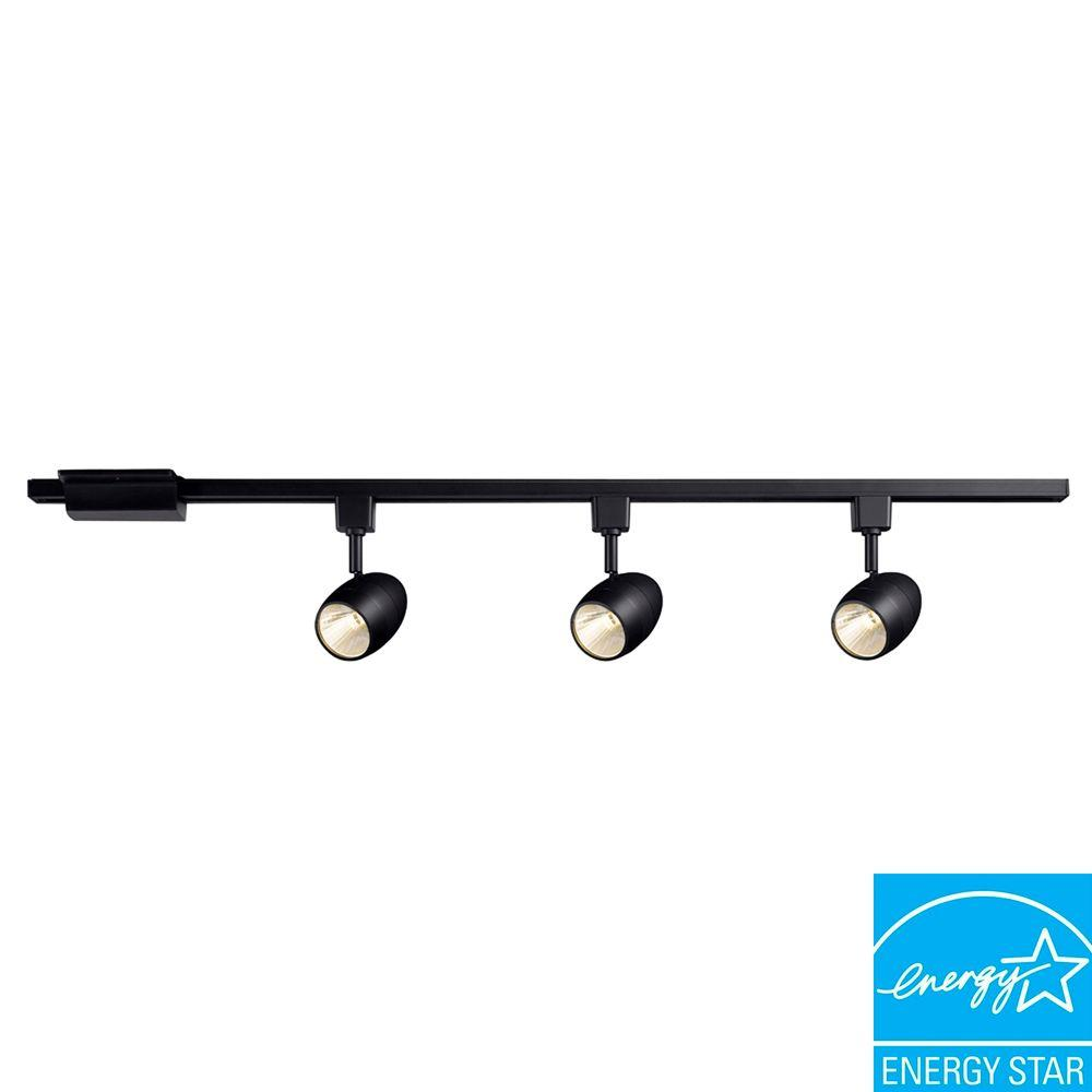 Hampton Bay 39.37 in. 3-Light Black LED Dimmable Track Lighting Kit