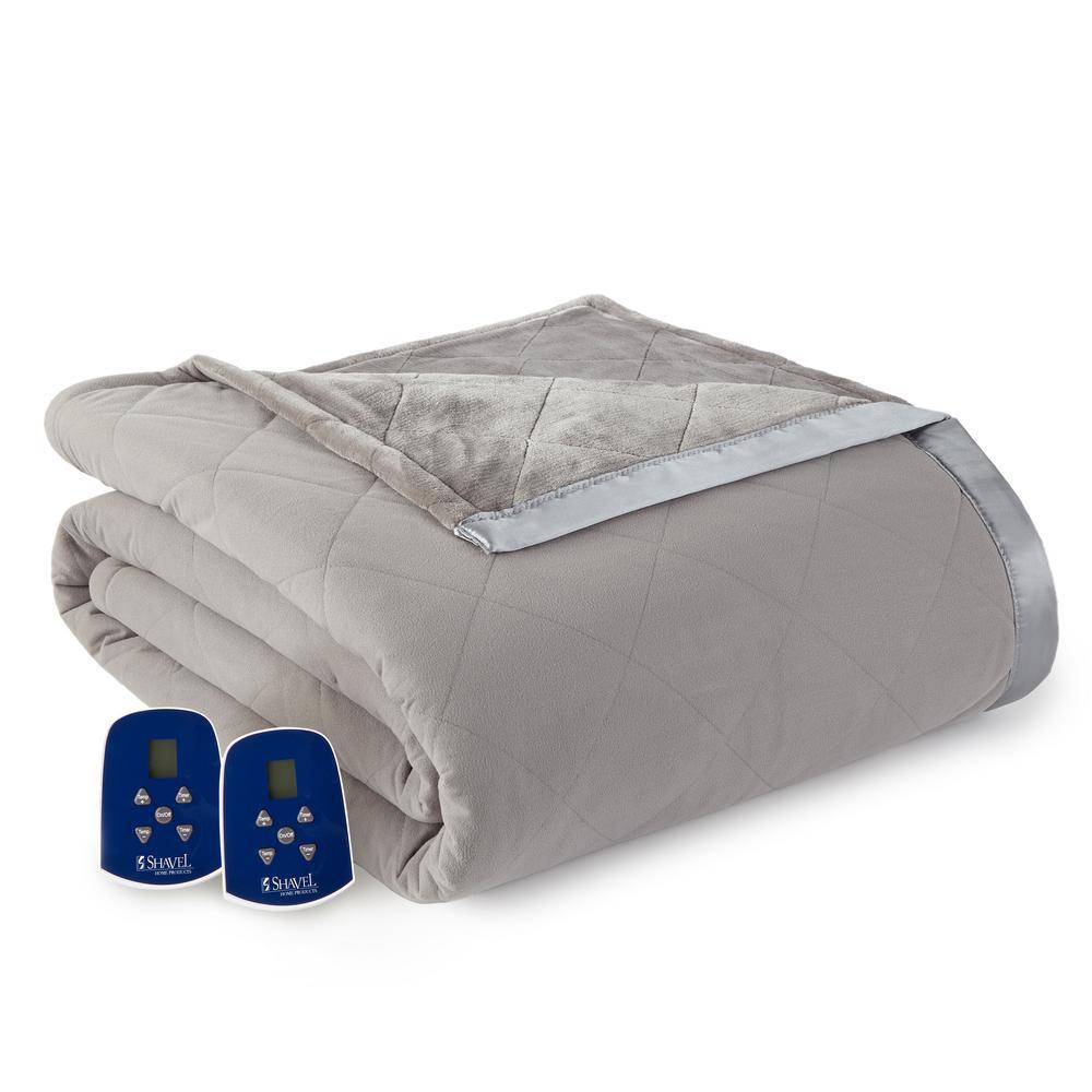 Reverse to Ultra Velvet King Smoke Electric Comforter/Blanket