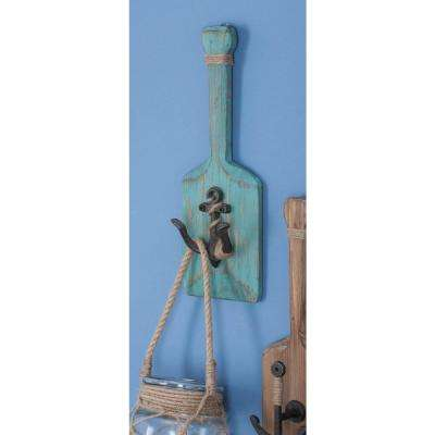 4 in. x 14 in. Coastal Cyan Wood Metal Wall Hook