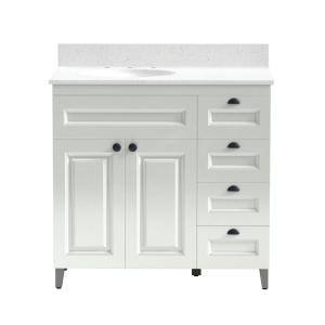 36 in. Metal Bathroom Vanity in White with Iced White Engineered Marble Vanity Top and White Sink