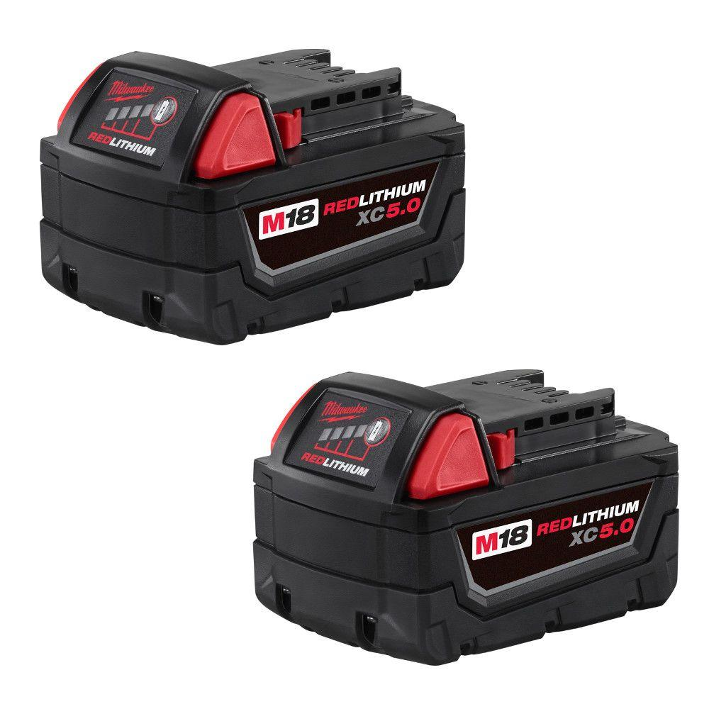 Milwaukee M18 18-Volt Lithium-Ion XC Extended Capacity Battery Pack 5.0Ah (2-Pack)