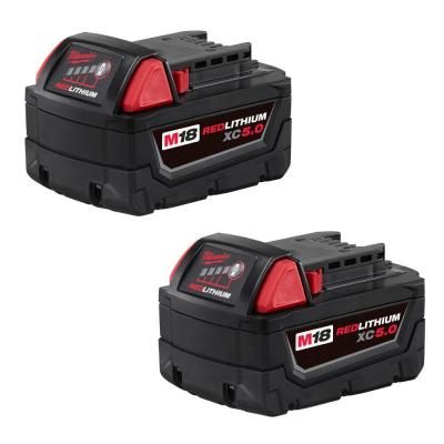 M18 18-Volt Lithium-Ion XC Extended Capacity 5.0Ah Battery Pack (2-Pack)
