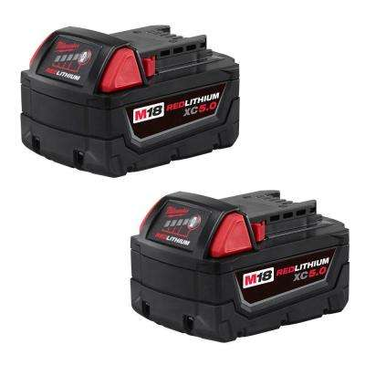 M18 18-Volt Lithium-Ion XC Extended Capacity Battery Pack 5.0Ah (2-Pack)