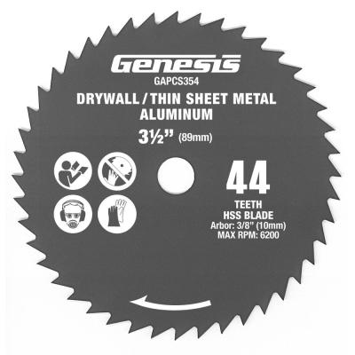 3-1/2 in. 44-Teeth High Speed Steel Circular Saw Blade for Drywall and Thin Sheet Metal Aluminum