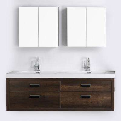 63 in. W x 19.4 in. H Bath Vanity in Brown with Resin Vanity Top in White with White Basin and Mirror