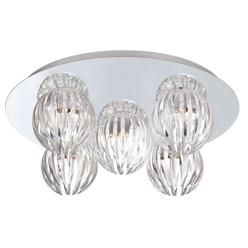 Eurofase Cosmo Collection 5-Light Chrome and Clear Flushmount