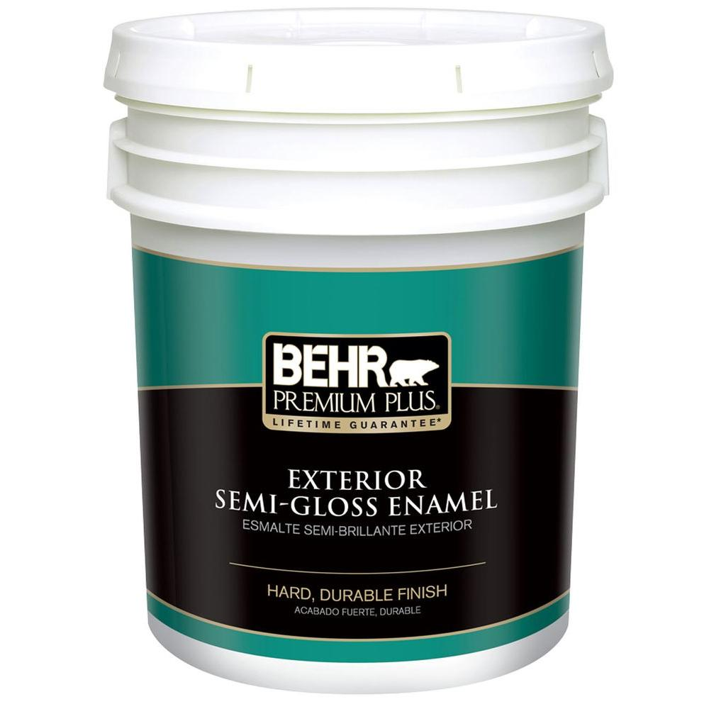 Behr Premium Plus 5 Gal Ultra Pure White Semi Gloss Enamel Exterior Paint 505005 The Home Depot