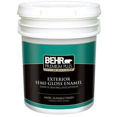 5 gal. Ultra Pure White Semi-Gloss Enamel Exterior Paint and Primer in One