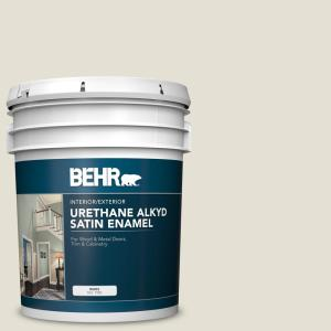 Behr 5 Gal N310 1 Sand Drift Urethane Alkyd Satin Enamel Interior Exterior Paint 790005 The Home Depot
