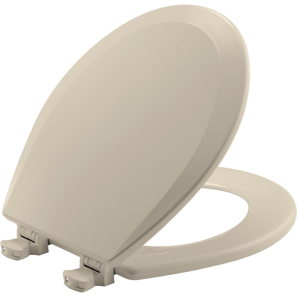 Bathroom Lift off Round Closed Front Toilet Seat Wood Easy Cleaning Biscuit New