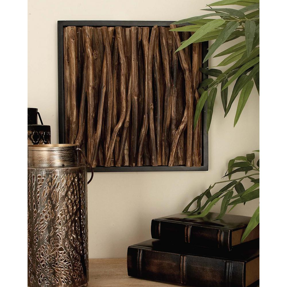 14 in. x 14 in. Rustic Teak Twig Wall Panels (Set