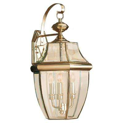 Lancaster Extra Large 3-Light Polished Brass Outdoor Wall Mount Lantern