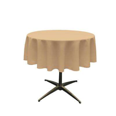58 in. Round Khaki Polyester Poplin Tablecloth