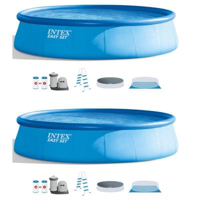 18 ft. Round 48 in. D Above Ground Inflatable Pool Easy Set with Ladder and Pump (2-Pack)
