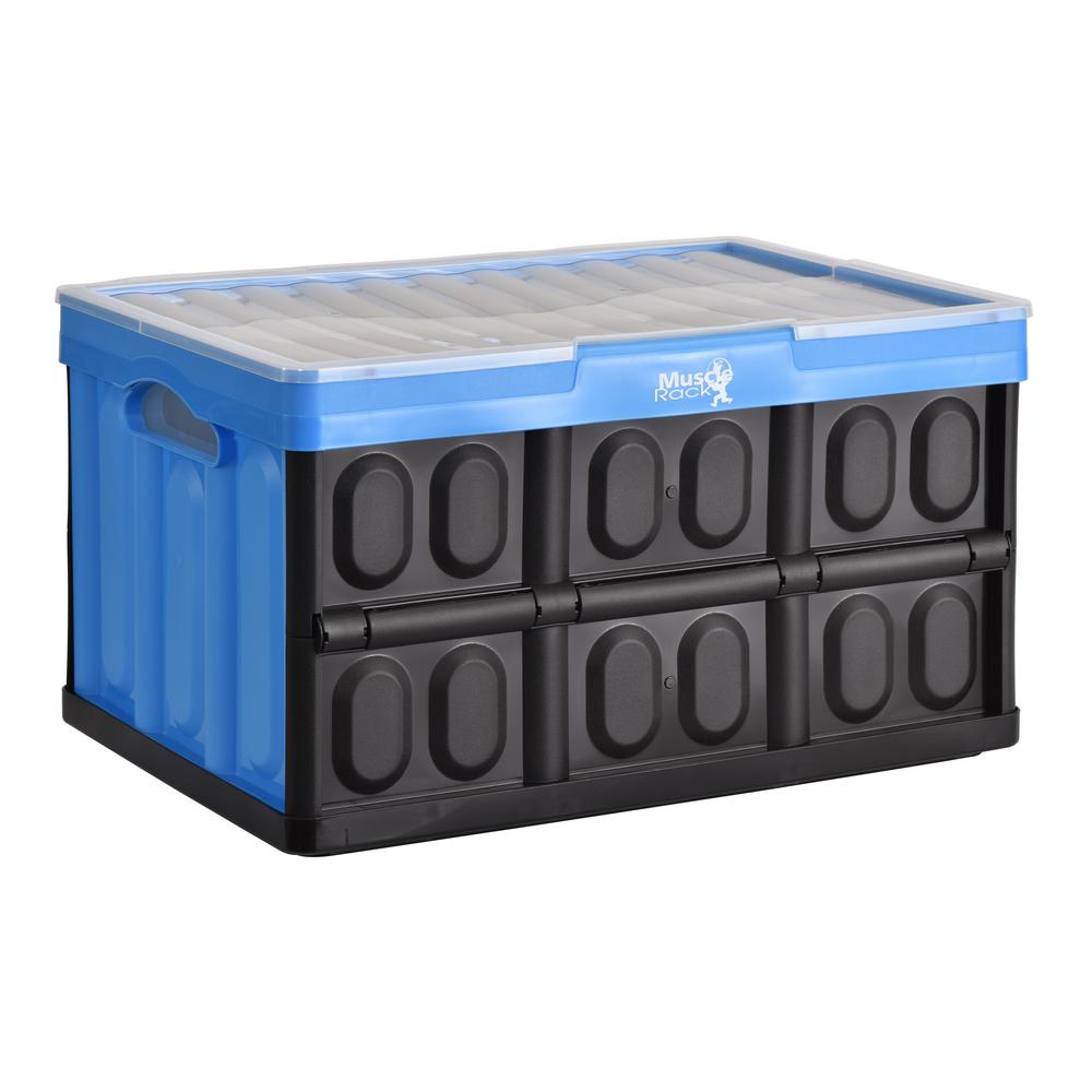 46 L Collapsible Storage Crate With Lid In Black/Blue
