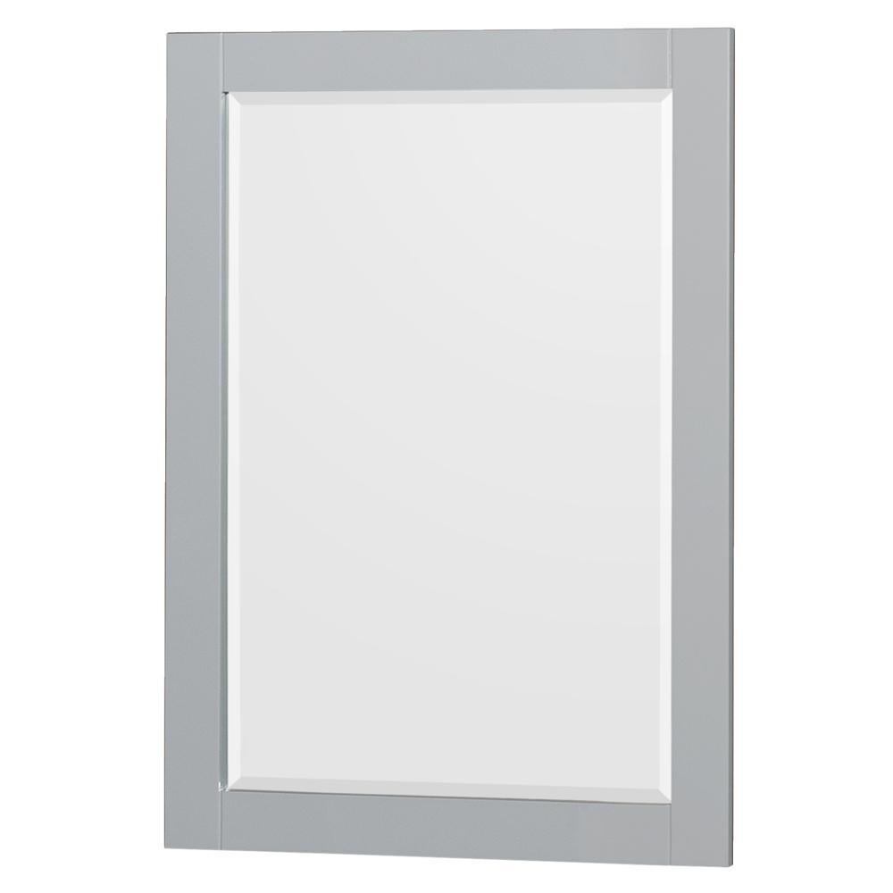 Acclaim 24 in. W x 36 in. H Framed Rectangular Bathroom Vanity Mirror in Oyster Gray