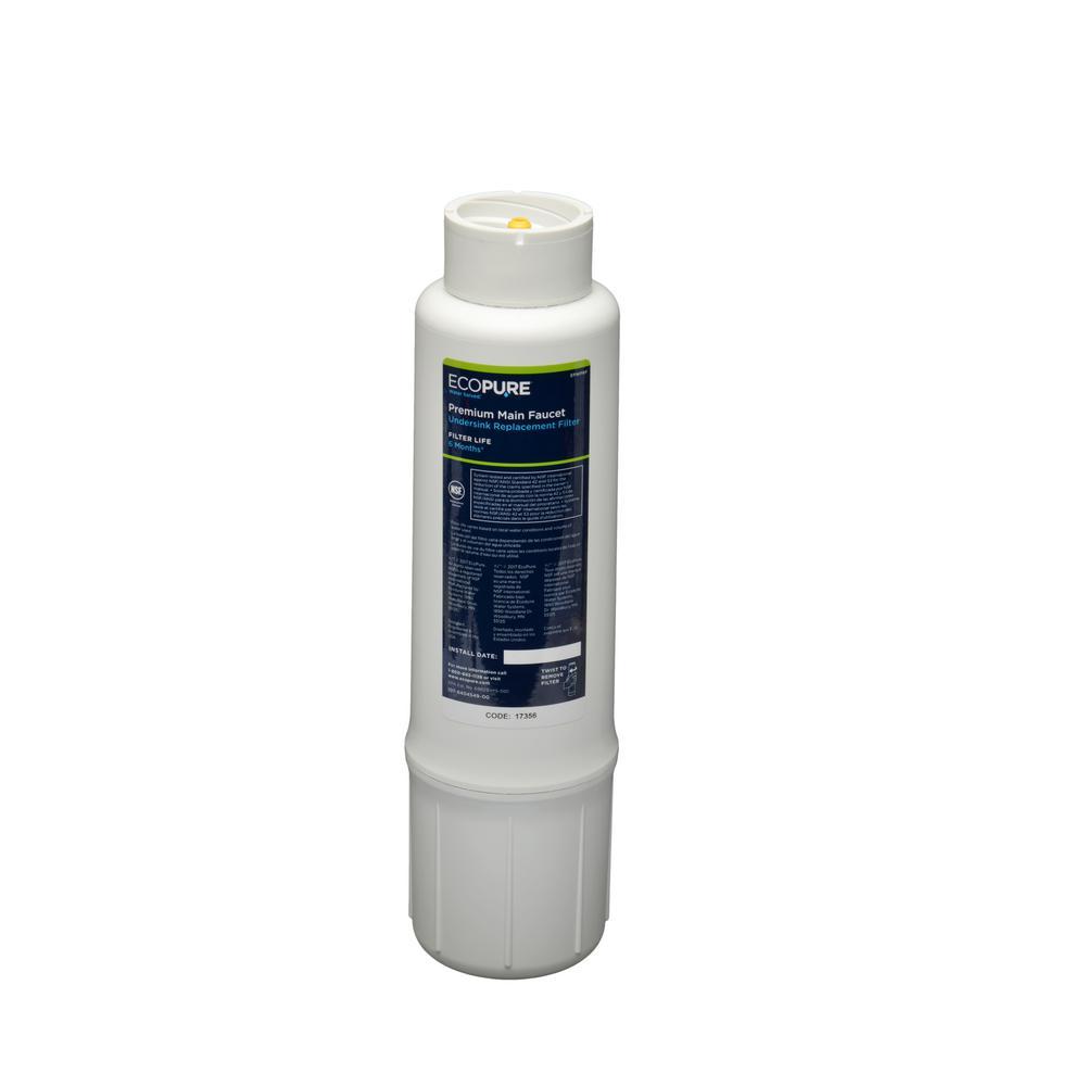 EcoPure Premium Main Faucet Under Sink Replacement Water Filter Cartridge