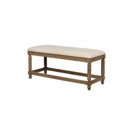 Arlo Washed Brown Finish Upholstered Bench