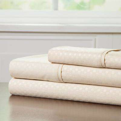 Embossed 3-Piece Champagne 3-Piece 90 GSM Microfiber Twin XL Sheet Set