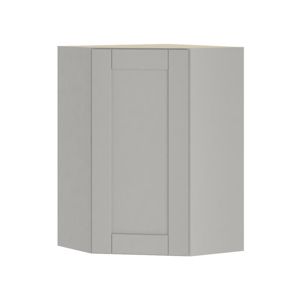 Hampton Bay Princeton Shaker Assembled 24x36x24 In. Corner Wall Cabinet In  Warm Gray WCD242436 PWG   The Home Depot