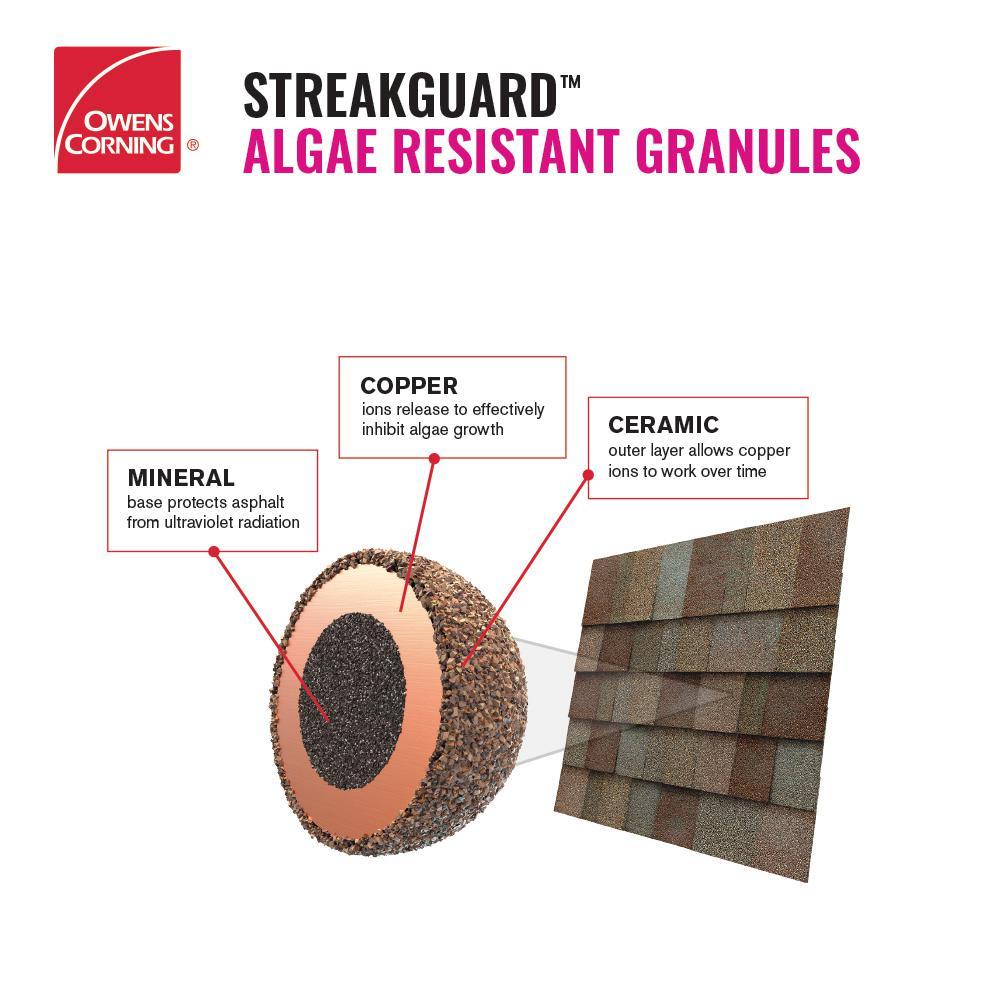 Reviews For Owens Corning Supreme Algae Resistant Driftwood 3 Tab Asphalt Roofing Shingles 33 3 Sq Ft Per Bundle Pm30 The Home Depot