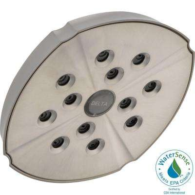 Addison 1-Spray 6.06 in. Fixed Shower Head with H2Okinetic in Stainless