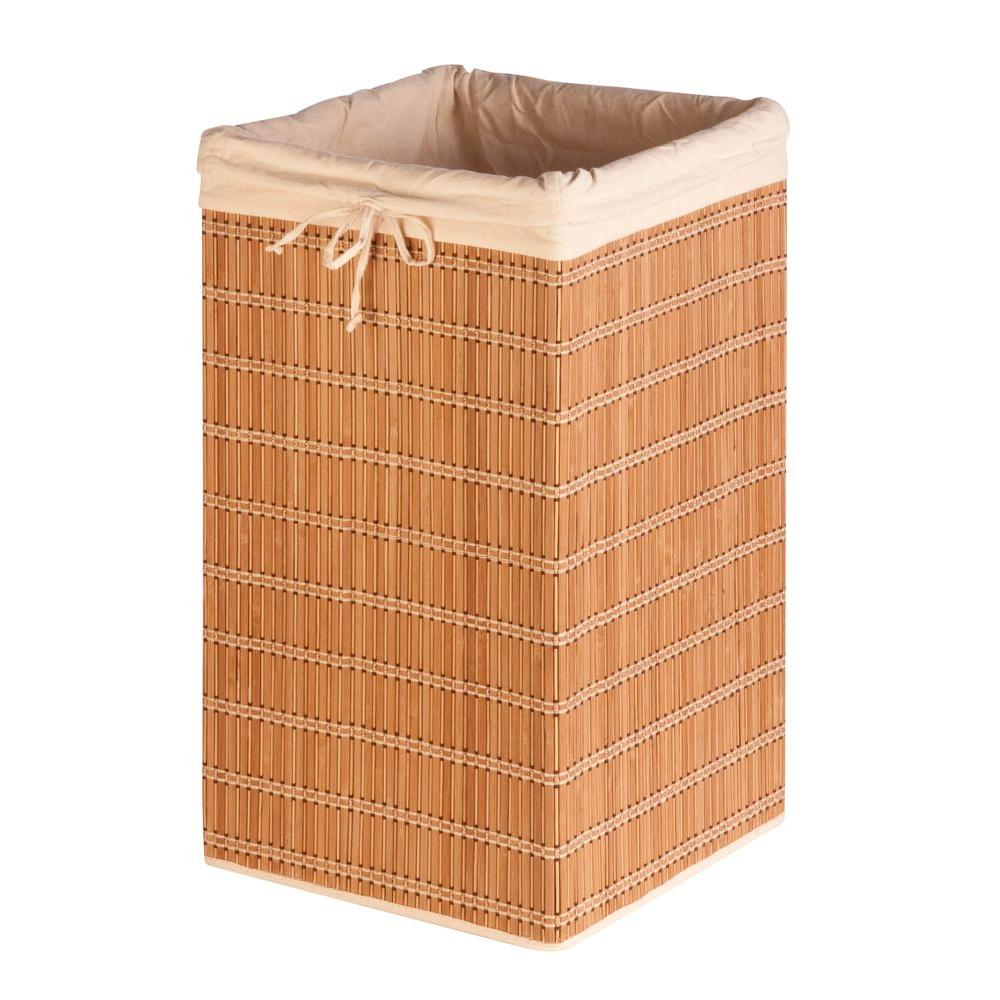 Honey Can Do Square Bamboo Wicker Laundry Hamper