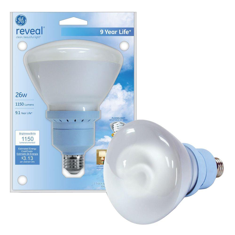GE 90W Equivalent Reveal (2500K) BR40 Compact Fluorescent Flood Light Bulb