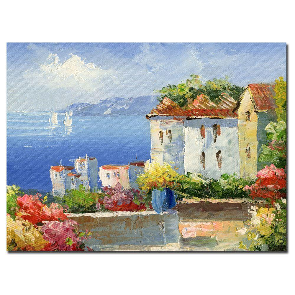 Trademark Fine Art 35 in. x 47 in. Mideterreanean Villa Canvas Art