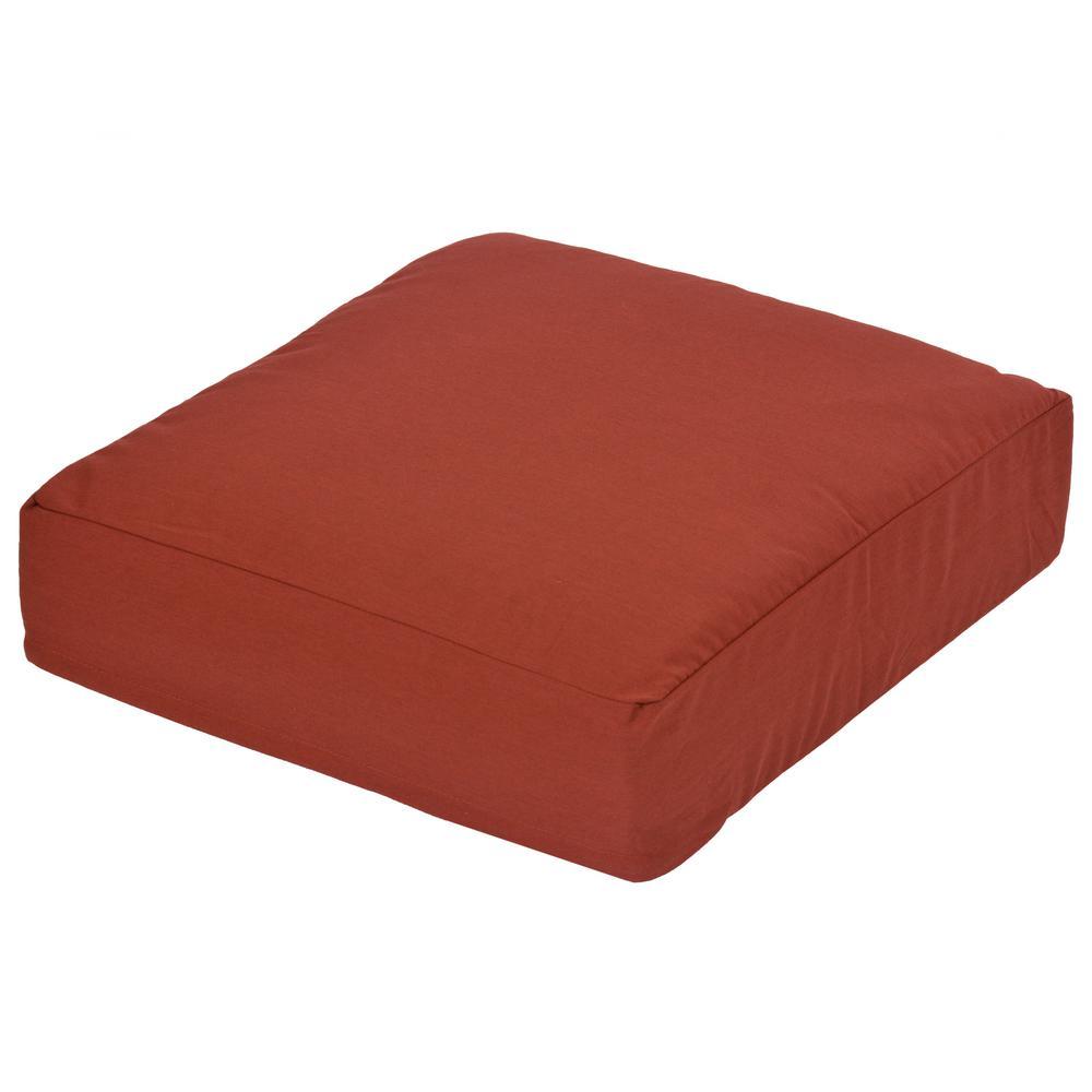 Oak Cliff Sunbrella Canvas Henna Replacement Outdoor Ottoman Cushion