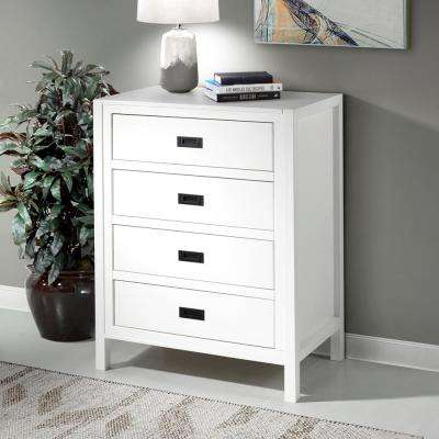 "40"" Classic Solid Wood 4-Drawer Chest - White"