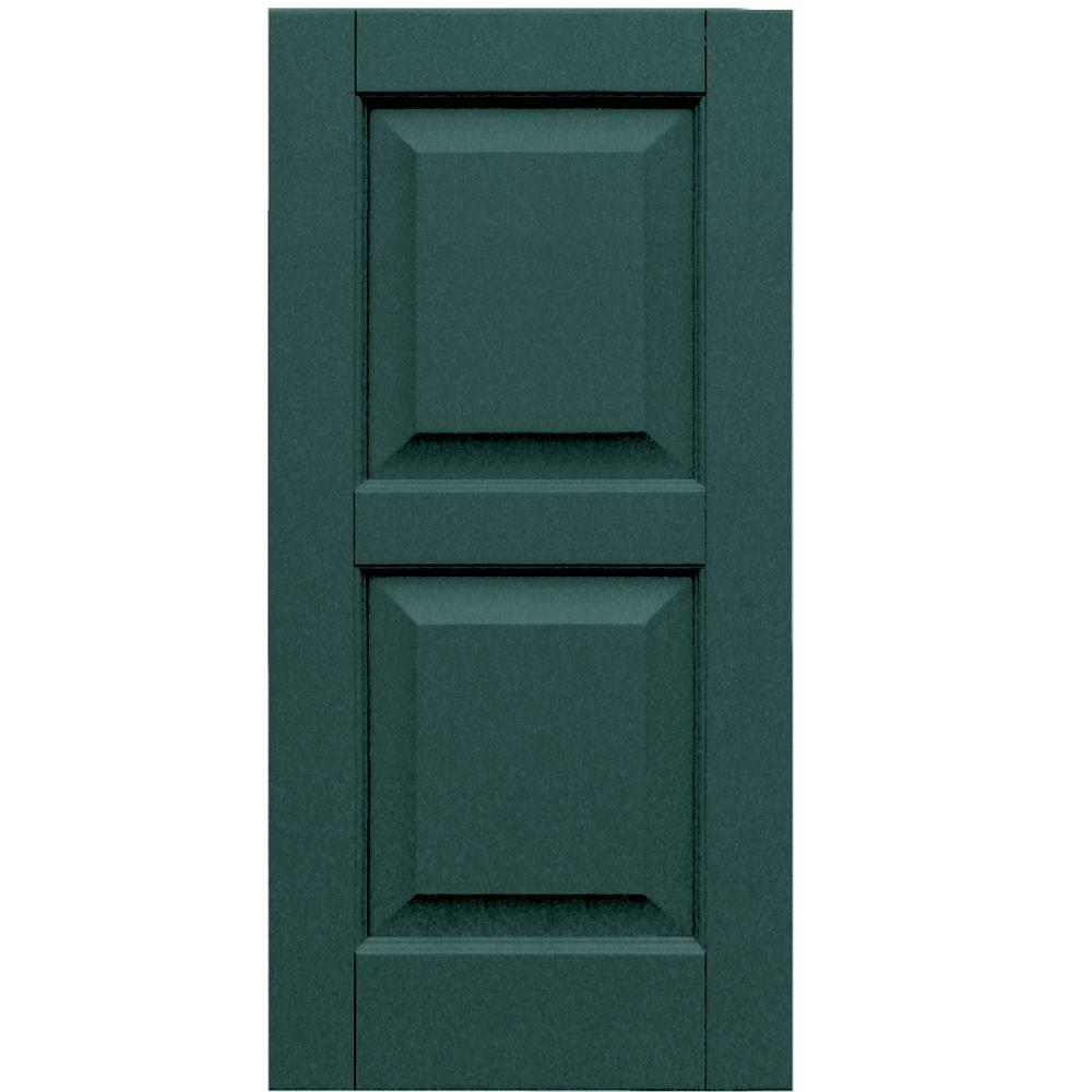 Winworks Wood Composite 15 in. x 31 in. Raised Panel Shutters Pair #633 Forest Green