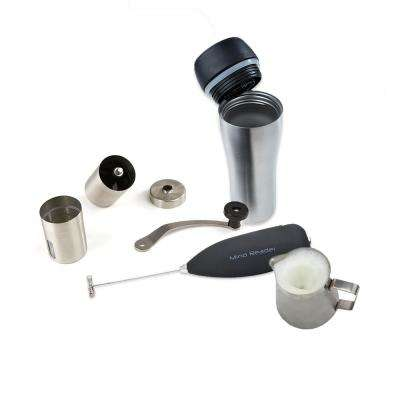 Coffee Lovers 4-Piece Frother, Pitcher, Grinder, Stainless Steel Travel Mug Set