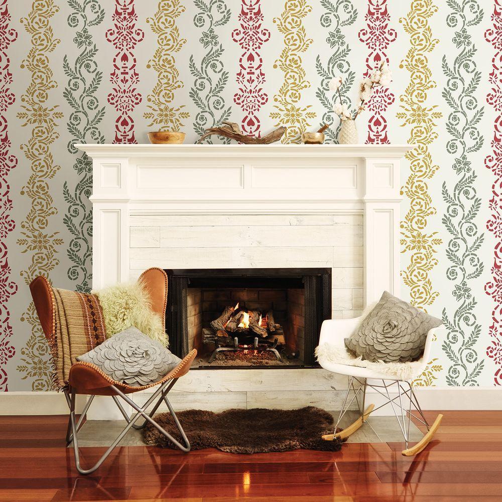 Anja White Ornate Stripe Wallpaper Sample