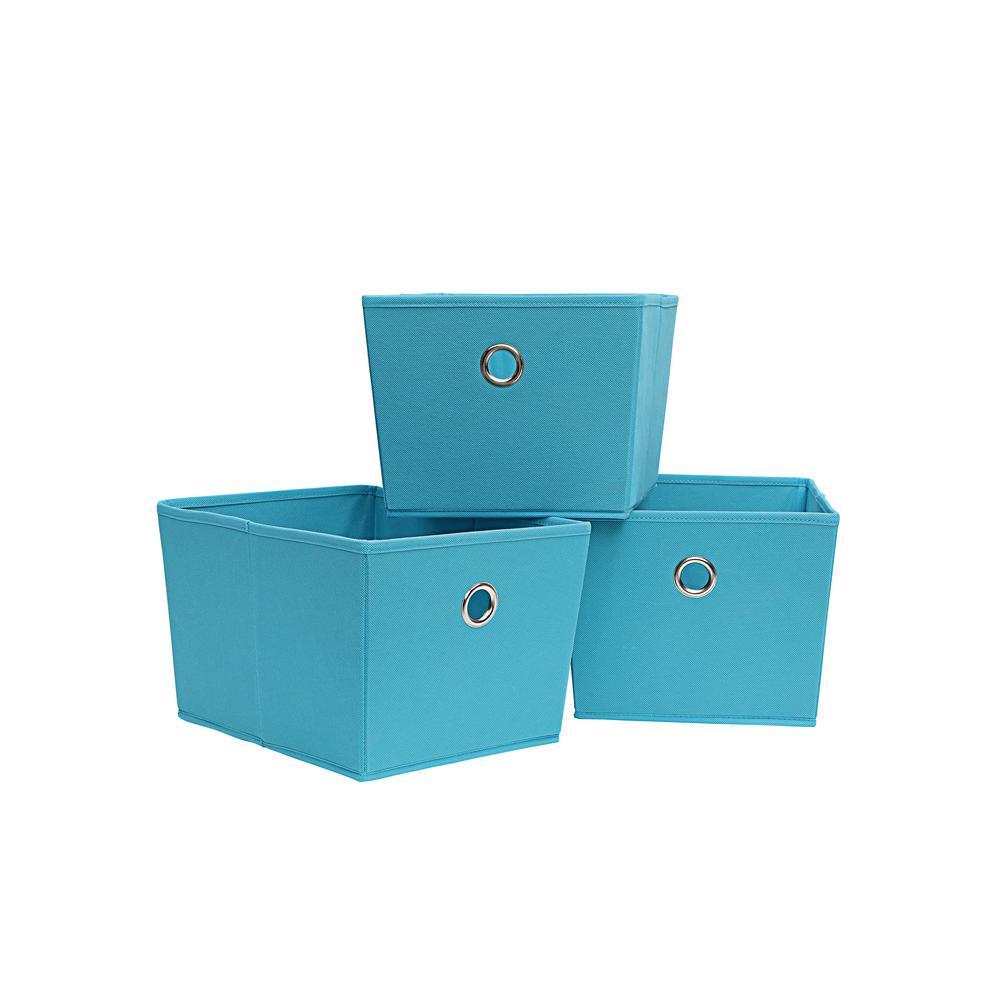 Tote 12.75 in. x 8 in. Blue 3-Cube Organizer