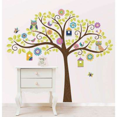 39 in. x 17.25 in. Hoot and Hangout Wall Art Decal Kit