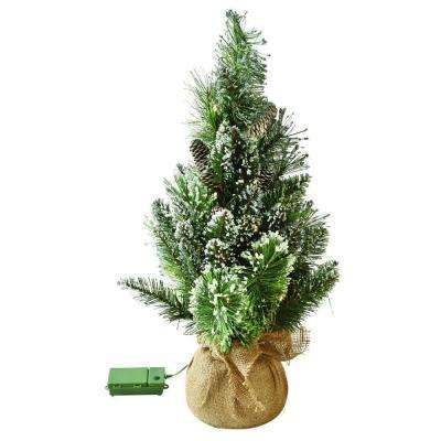 24 in. Pre-lit LED Glittery Bristle Pine Artificial Table Tree