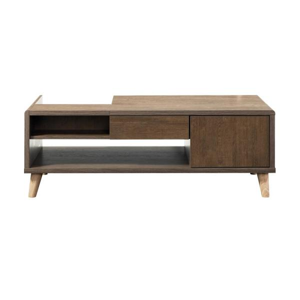 Andre 48 in. Walnut Oak Large Rectangle Wood Coffee Table with Drawers