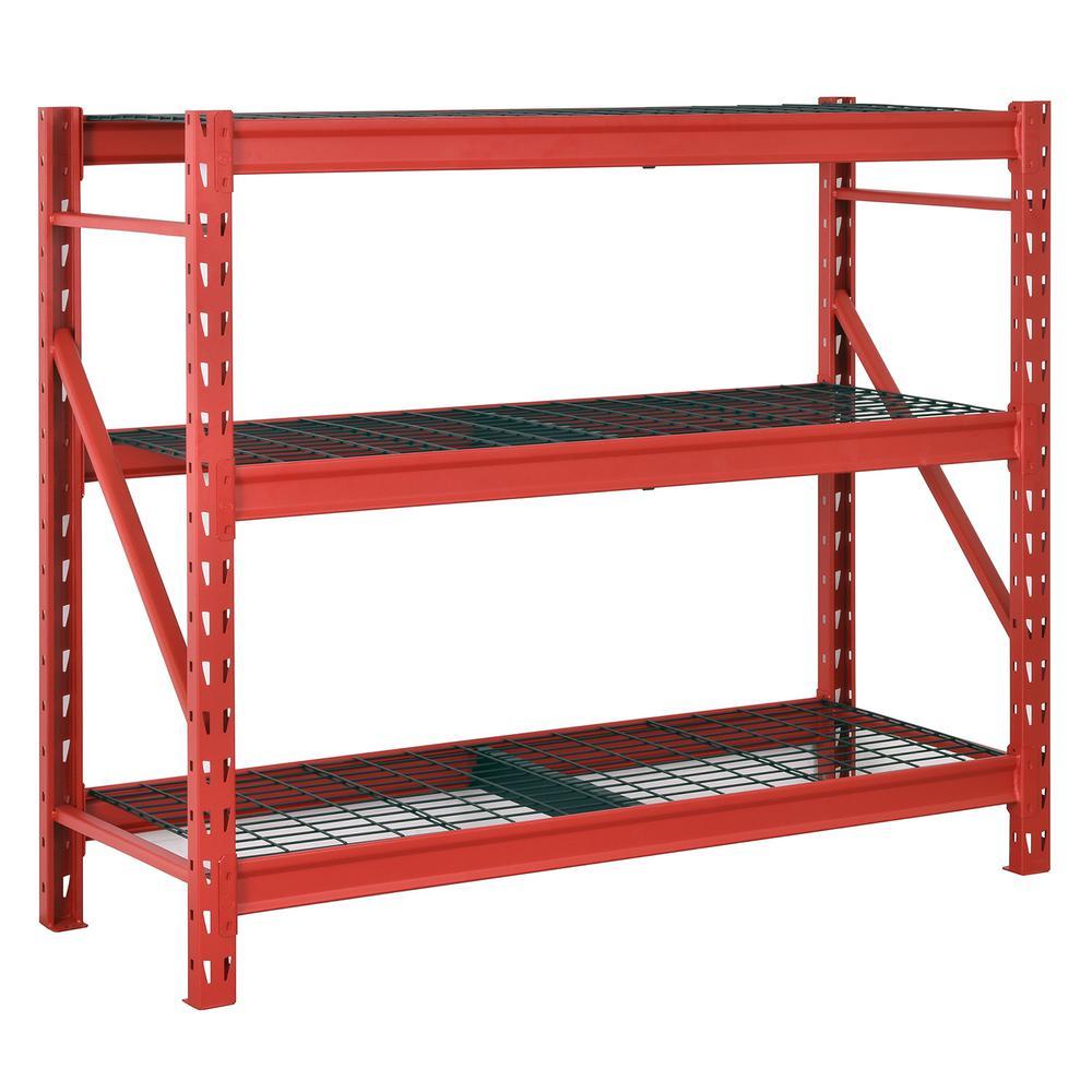 Red 3-Tier Heavy Duty Industrial Welded Steel Garage Storage Shelving Unit (65 in. W x 54 in. H x 24 in. D)