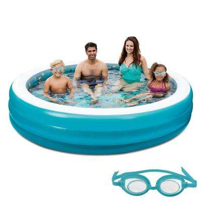 7.5 ft. Round Family Inflatable Pool with 3D Graphics