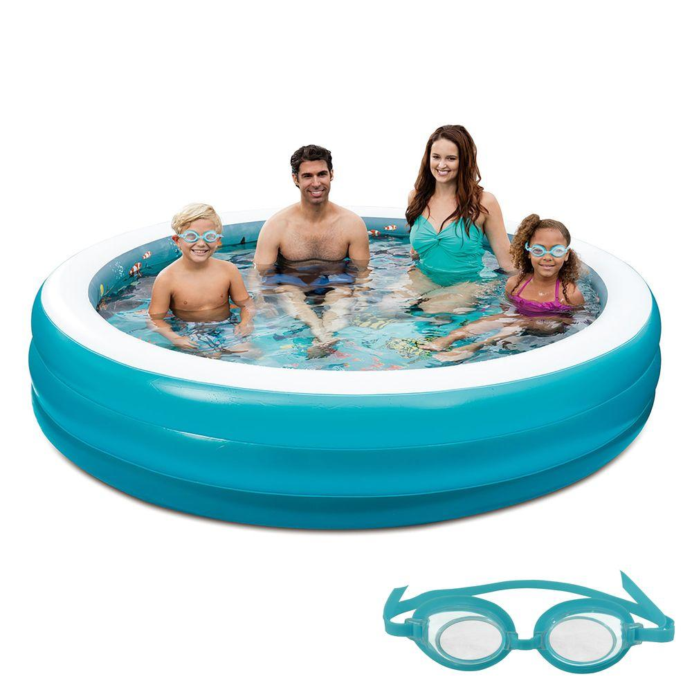 Blue Wave 3d Inflatable 7 5 Ft Round Family Pool Nt5058 The Home Depot